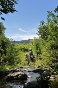Marcia Hefker horseback on Trinchera Creek