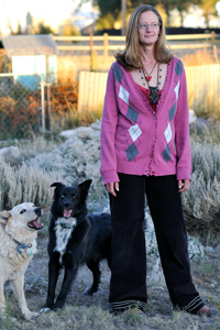 Christina Boyce at home with pups