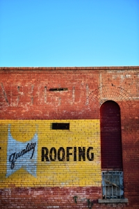 Quality Roofing sign, Riverwalk, Trinidad Colorado