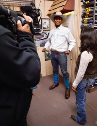 Michael Newman cowboy makeover at Solano's Boot & Western Wear, Raton