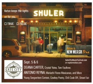 Shuler Theater night photo by Tim Keller, in New Mexico True ad, 2015