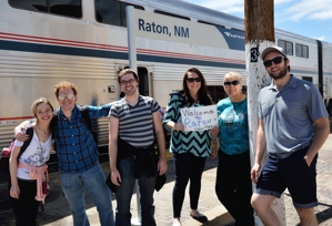 Shuler Theater summerstock actors arrive in Raton by Amtrak from Chicago, June 2015