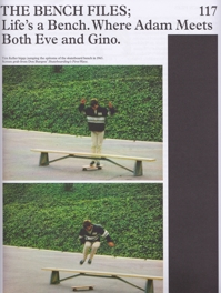 "Tim Keller ""hippy jump"" over bench in Skateboarding's First Wave, A Skateboarding Annual 2"