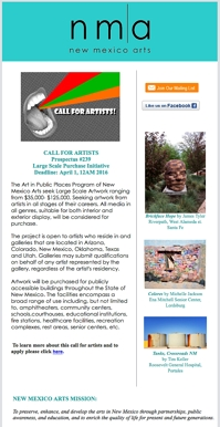 New Mexico Arts bulletin with Tim Keller Photography