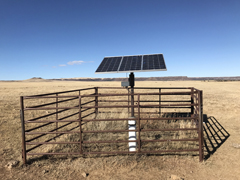Solar water pump for cattle atop Bartlett Mesa