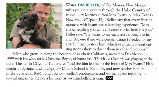 Tim Keller's first contributor's profile in NM Magazine, 2011