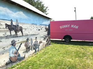 Bunny Man and Mosquero NM mural of cowboy culture