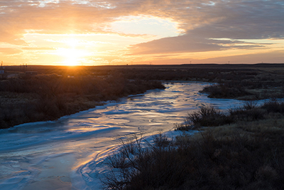 Arkansas River frozen at Holcomb, Kansas, January 2018, by Tim Keller