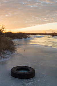 Arkansas River frozen at Holcomb Kansas,  January 2018, by Tim Keller
