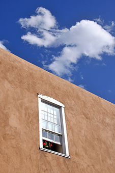 Santa Fe window, red flowers