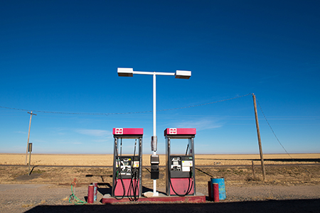 Abandoned Cenex gas pumps at Saunders, Kansas, January 2018