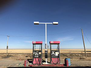 Abandoned Cenex gas pumps at Saunders, Kansas