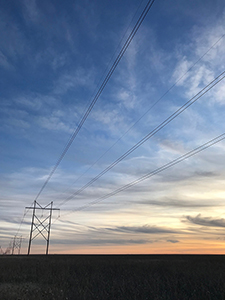 Kansas power lines at Sunset, by Tim Keller