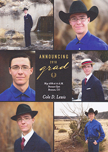 Cole Lewis graduation announcement, 2018